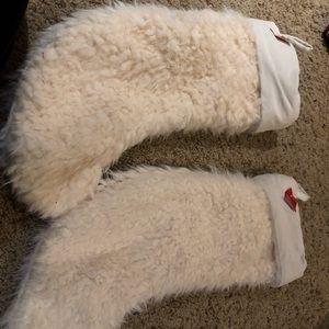 White fuzzy Christmas stockings